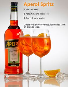 An easy recipe for the classic Italian cocktail, Aperol Sprtiz! Made with prosecco, Aperol, and citrus this is the ultimate Italian cocktail and so refreshing for summer. Party Food And Drinks, Fruit Drinks, Yummy Drinks, Healthy Drinks, Beverages, Aperol Drinks, Wine Cocktails, Alcoholic Drinks, Aperol Spritz Receita