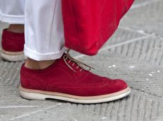 Bold red shoes are the perfect complement to this season's lightweight pants.