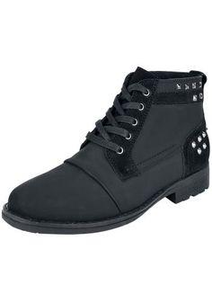 Čierne nitmi vykladané topánky jednoducho patria k rockovému outfitu! Nielen že sakramentsky dobre vyzerajú, ale chránia tiež vaše nohy pred nástrahymi každodenného či festivalového života. Výška sáry: 11 cm.