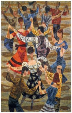 """""""Country Dance"""" Illustrated by Fletcher Martin 1952 From the book """"Fletcher Martin"""" Harry N. Abrams, Inc., Publishers, New York 1977 Dance 4, Partner Dance, Dance Paintings, Square Dance, Country Dance, Online Art Gallery, Art Museum, Folk Art, Contra Dancing"""