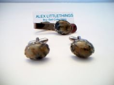 vintage genuine stone scalloped cufflinks and by ALEXLITTLETHINGS, $38.00
