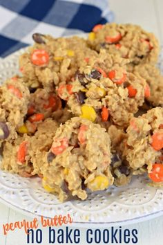 No Bake Peanut Butter Cookies are a classic, childhood treat made with oatmeal, peanut butter, and Reese's candy! bake Desserts The Easiest Peanut Butter No Bake Cookies Recipe Peanut Butter No Bake, Peanut Butter Recipes, Peanut Butter Reeses Cookies, No Bake Cookies Recipe Peanut Butter, Healthy Peanut Butter Cookies, Peanut Butter Candy, Caramel Cookies, Baking Recipes, Cookie Recipes