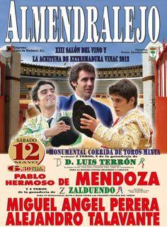 ¿Sabes que hay toros en Almendralejo?¿Y que torean Hermoso de Mendoza, Miguel Ángel Perera y Talavante!¡Con un sólo click, adquiere tus entradas y recíbelas en tu domicilio! http://www.toroticket.com/entradas-toros/697-almendralejo-12-de-mayo-entradas-toros.html