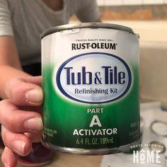 Mix Activator in Rustoleum Tub and Tile Paint Tub And Tile Paint, Tub Tile, Bathroom Tiling, Concrete Bathroom, Bathroom Faucets, Bathroom Wall, Bathroom Interior, Small Bathroom, Diy Bathtub
