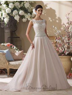 Illusion and Scalloped Lace Bateau Neckline A-line Wedding Dresses