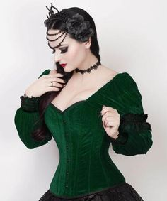 Fima Gothic Overbust Green Corset with Attached Sleeve ~ WOW!!
