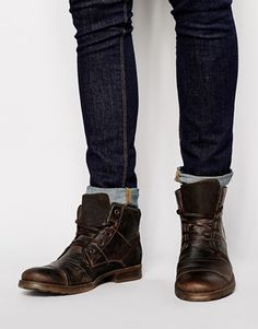 River Island Hi- Top Military Boots in Leather