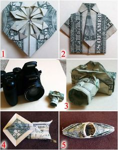 Money Origami: Make your plain old money gift fun and surprising! Leave a tip that makes your server's night! Folding Money, Paper Folding, Money Origami, Origami Paper, Origami Birds, Dollar Bill Origami, Dollar Store Crafts, Dollar Stores, Dollar Bills