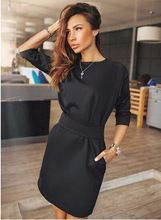 2016 Women Fall Fashion Casual Mini Dress Broadcloth Solid Color Short Sleeve O-neck Women Dress Two Side Pocket Black Dresses(China (Mainland))