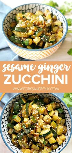 You know that hibachi-style zucchini you get at Japanese restaurants? That's my inspiration behind this Sesame Ginger Zucchini. It's the perfect side dish. Especially in late summer! (Bake Zucchini Whole Healthy Vegan Dessert, Healthy Recipes, Veggie Recipes, Asian Recipes, Vegetarian Recipes, Cooking Recipes, Recipes With Ginger, Ginger Food, Sesame Recipes