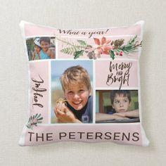 Family photo collage modern Christmas keepsake Throw Pillow