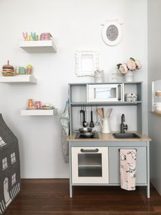 Cute kids IKEA duktig kitchen given a makeover to create a little coffee shop