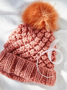 Mile High Pom Beanie | Handmade chunky knit beanie with a fun pom accent on top. Fold up for an effortless, cool girl feel.
