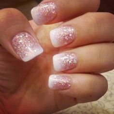 Opting for bright colours or intricate nail art isn't a must anymore. This year, nude nail designs are becoming a trend. Here are some nude nail designs. Fancy Nails, Cute Nails, Pretty Nails, My Nails, Glitter French Manicure, Glitter Nail Art, White Glitter, Glitter Gel Nails, Acrylic Nail Designs