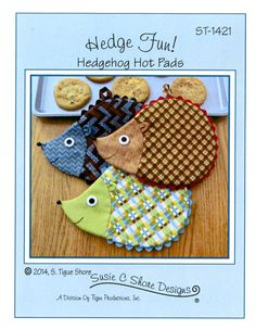 Hedge Fun- Hedgehog Hot Pads Pattern by Susie C. Shore Designs Pattern pieces and instructions to sew up some Hedgehog Hot Pads! Sew easy, so Potholder Patterns, Quilt Patterns, Sewing Patterns, Apron Patterns, Fabric Crafts, Sewing Crafts, Sewing Projects, Hot Pads, Hedgehog Craft