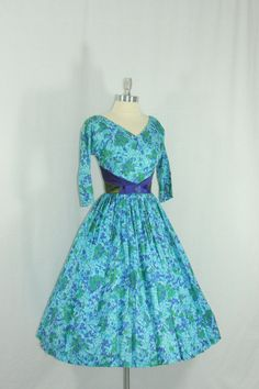 1950's Dress Gorgeous Blue Purple and by VintageFrocksOfFancy, $220.00
