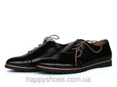 """Черные кожаные туфли с боковой шнуровкой: продажа, цена в Запорожье. туфли женские от """"HappyShoes"""" - 223641750"""