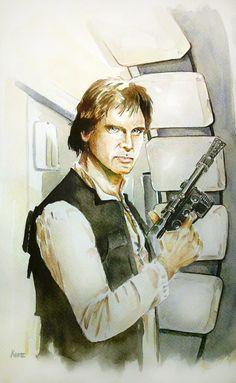 Harrison Ford as Han Solo by MikeKretz.deviantart.com on @deviantART