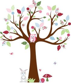 flowery tree wall decal