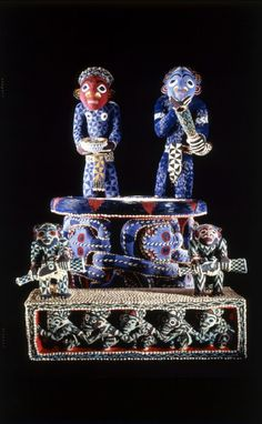 Africa | Throne with foot pedestal ~ mandu yenu ~ from the Bamum people of Cameroon | Wood covered with textile embroidered with glass beads and cowrie shells | 19th century