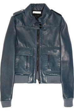 Chloe Dark-Teal Leather Biker Jacket