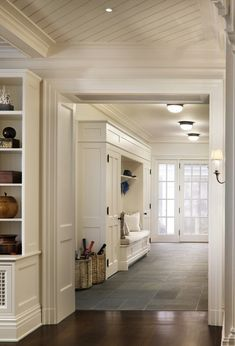 10 Tips How To Build A Lightweight House Decoration Design Beautiful entryway with mudroom built-ins surrounding a bench with white seat … The Best of home design ideas in Style At Home, Mudroom Laundry Room, Bench Mudroom, Hall Bench, Entry Bench, Bench Seat, Slate Flooring, Kitchen Flooring, Slate Floor Kitchen