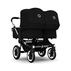 Bugaboo Donkey Twin Stroller Bundle, Aluminum Base with Black Tailored Fabric Set