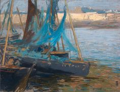 """La Ville Close and Blue Nets,"" Charles Henry Fromuth, 1901, pastel, 18 1/8 x 24"", private collection."