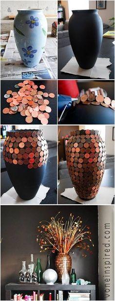 DIY flower vase made of pennies