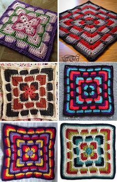 Granny Square Blanket Crochet Patterns: Free Crochet Pattern Of Granny Square Afghan Motifs Granny Square, Granny Square Crochet Pattern, Afghan Crochet Patterns, Crochet Squares, Crochet Motif, Crochet Stitches, Crochet Baby, Free Crochet, Blanket Crochet