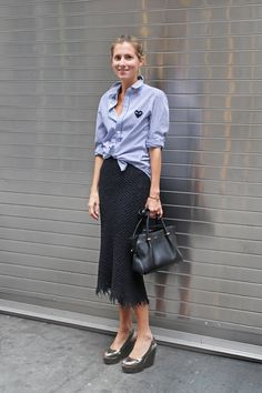 prep shirt - shoes towards retro (1940s) - timid bag - undefinable skirt could be costume, i doubt that it's postprotest or any other style - Marina Larroude