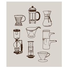 Finished product of the #coffee brew method illustrations from my earlier progress shot! Part of some apparel spec work for @20belowcoffee. Currently digging the French press method best myself although I get in different kicks every couple of months...what's your favorite? by brittappeldesign