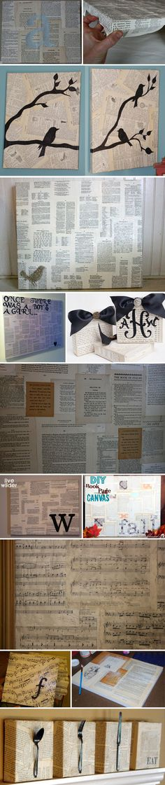 BOOK CRAFT / WALL ART :: Tons of INSPIRATION for Book Page (& Sheet Music) Wall Art :: Click for a tute on how to Mod Podge a canvas w/ book pages. Try adding in scrap book paper, turning the pages, adding a monogram stenciled, bows or objects (like utensils or keys?) on top, using various shades of antiqued pages