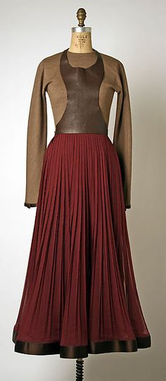Ensemble, wool and silk with synthetic and leather, Geoffrey Beene designer, American, 1995-96
