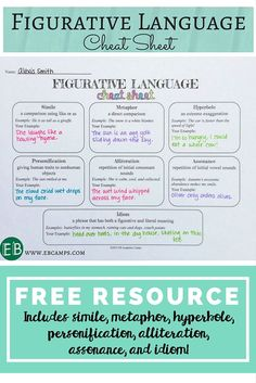 This is a great free figurative language cheat sheet to help you teach the various devices in your middle school classroom (could even be used in upper elementary!). Use this worksheet with other activities for students!