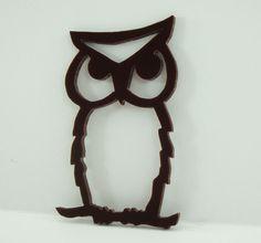 Owl Ornament Brown Hand Cut Acrylic Scroll by OohLookItsARabbit