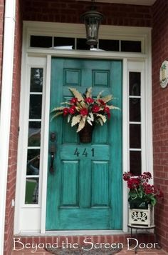 A Collection of Turquoise Doors | Beyond the Screen Door.  LOVE the black glaze over this one! Looks more rustic!