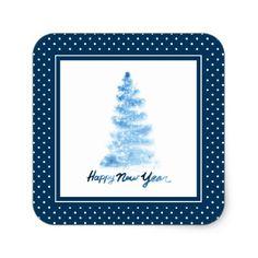Happy New Year Blue Watercolor Christmas Tree Square Sticker - christmas craft supplies cyo merry xmas santa claus family holidays