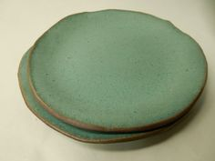"""Turquoise stoneware pottery salad / lunch plate about 7 3/4"""" across by AtHomeInTaos on Etsy https://www.etsy.com/listing/210063148/turquoise-stoneware-pottery-salad-lunch"""