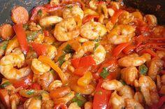 Γαρίδες πικάντικες. Φανταστικές γαρίδες με πιπεριές...