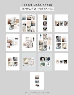 13 Free Mood Board Templates for Canva Web Design Tips, Layout Design, Interior Design Vision Board, Free Design Programs, Vision Board Template, Interior Design Presentation, Minimalist Design, Templates, Salt