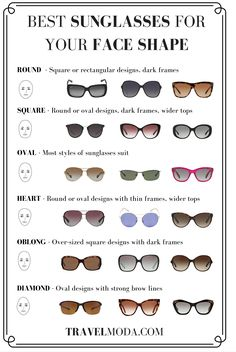 best sunglasses for your face shape - infographic