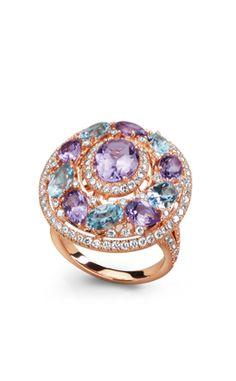 Bucherer ring, Rose gold, amethysts, topaz and brilliants