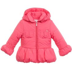 Gucci - Baby Girls Coral Pink Padded Coat | Childrensalon