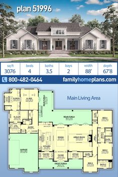 Country Style House Plan Number 51996 with 4 Bed, 4 Bath, 2 Car Garage NEW Moder. Country Style House Plan Number 51996 with 4 Bed, 4 Bath, 2 Car Garage NEW Modern Farmhouse by Award Winning Archite Family House Plans, Country Style House Plans, New House Plans, Dream House Plans, Dream Houses, 4 Bedroom House Plans, House Design Plans, Texas House Plans, One Level House Plans