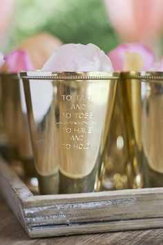 ceremony petal toss in mint julep cups