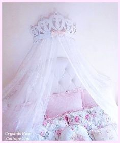 Shabby Rose Princess Heart Bed Crown Canopy...Color Choices