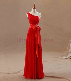 long formal evening gowns with satin sash floor length one shoulder red chiffon prom dress simple dresses for evening from Charmbride on Etsy. Red Bridesmaid Dresses, Wedding Flower Girl Dresses, Bridal Dresses, Prom Dresses, Wedding Dress, Chiffon Evening Dresses, Evening Gowns, Red Chiffon, Couture