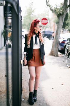 Wearing: Motel Crochet top Theory Blazer Ray Ban Sunnies YSL High School Bag Windsor Smith Booties