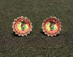 Chicago Blackhawks Bottlecap Stud Earrings by SimpleFunCreations, $10.00